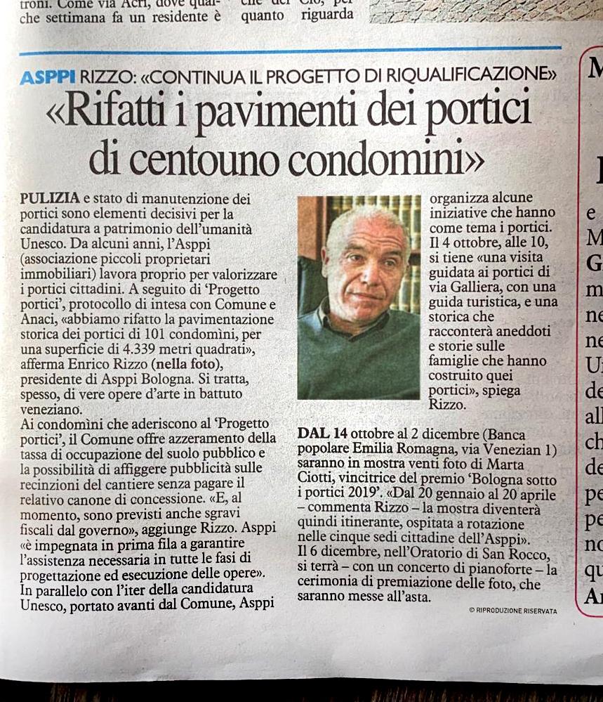 Rifatti i pavimenti dei Portici di Centouno Condomini. Intervista del Resto del Carlino a Enrico Rizzo pres. ASPPI Bo
