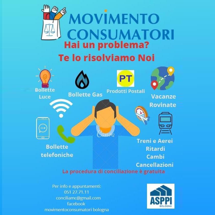 Movimento Consumatori che ha sede in ASPPI Bologna risolve problemi su bollette luci, gas, telefono… La Procedura di conciliazione è gratuita