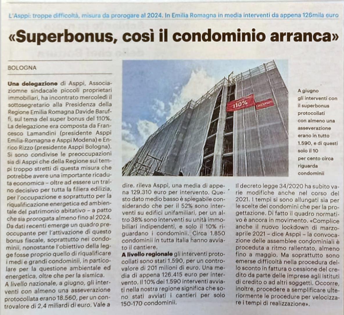 Superbonus 110%. ASPPI incontra il sottosegretario alla Presidenza della Regione Davide Baruffi